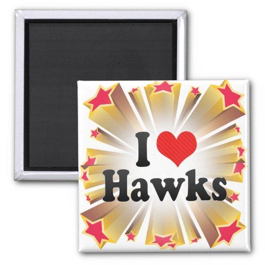 I Love Hawks 2 Inch Square Magnet
