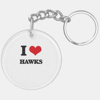 I love Hawks Double-Sided Round Acrylic Keychain