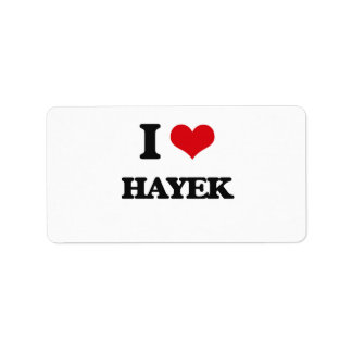 I Love Hayek Address Label