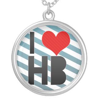 I Love HB Round Pendant Necklace