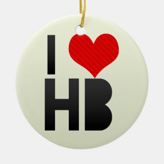 I Love HB Double-Sided Ceramic Round Christmas Ornament