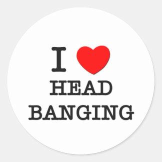 I Love Head Banging Classic Round Sticker