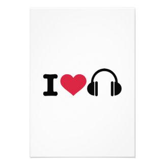 I love headphones music personalized invitation