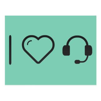 I Love Headset Postcard
