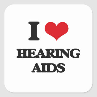 I love Hearing Aids Square Sticker