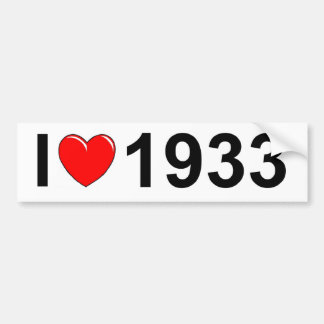 I Love (Heart) 1933 Bumper Sticker