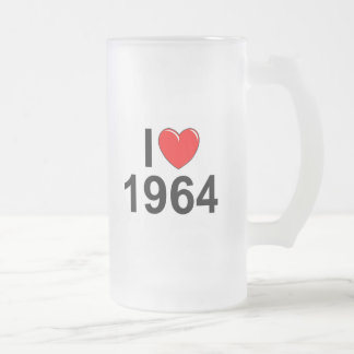 I Love (Heart) 1964 Frosted Glass Beer Mug