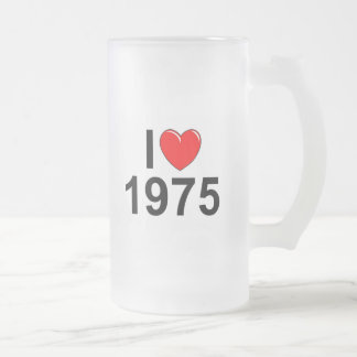 I Love (Heart) 1975 Frosted Glass Beer Mug