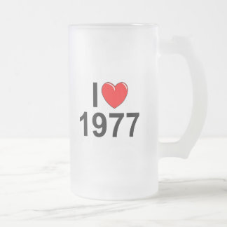 I Love (Heart) 1977 Frosted Glass Beer Mug