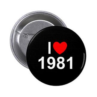 I Love (Heart) 1981 Button
