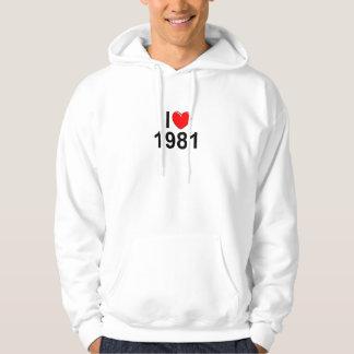 I Love (Heart) 1981 Hooded Sweatshirt