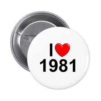 I Love (Heart) 1981 Pinback Button