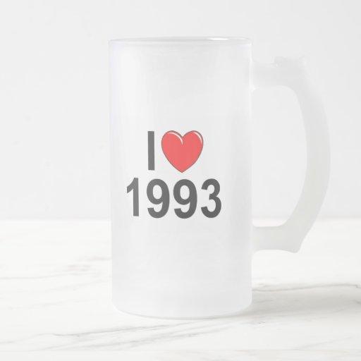 I Love (Heart) 1993 16 Oz Frosted Glass Beer Mug