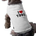 I Love (Heart) 1993 Dog T Shirt