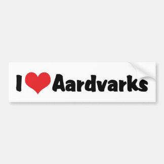 I Love Heart Aardvarks Bumper Sticker