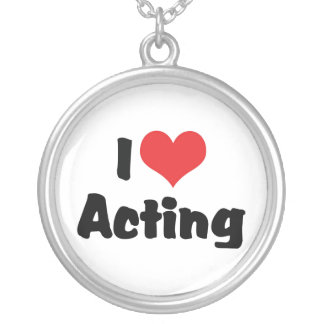 I Love Heart Acting - Performing Arts Theater Silver Plated Necklace