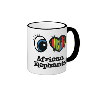 I Love (Heart) African elephants Mug