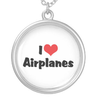 I Love Heart Airplanes Silver Plated Necklace
