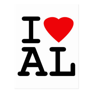 I Love Heart Alabama Postcard