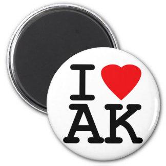 I Love Heart Alaska 2 Inch Round Magnet