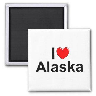 I Love (Heart) Alaska 2 Inch Square Magnet