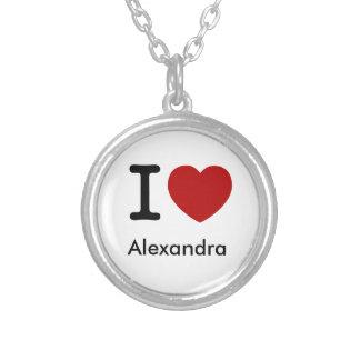 I Love (Heart) Alexandra Round Pendant Necklace