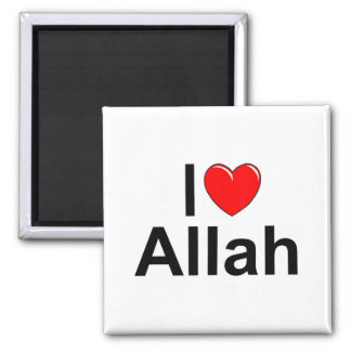 I Love (Heart) Allah 2 Inch Square Magnet