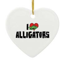 I Love Heart Alligators Ceramic Ornament