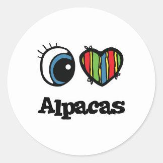 I Love (Heart) Alpacas Classic Round Sticker