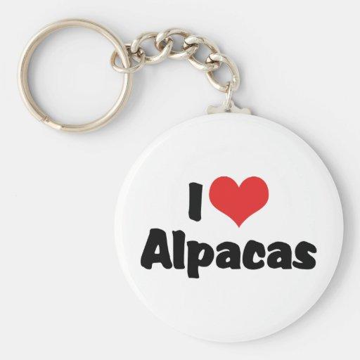 I Love Heart Alpacas Keychain