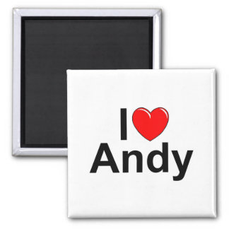 I Love (Heart) Andy 2 Inch Square Magnet