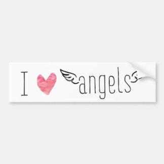 I love / heart Angels Watercolor Car Sticker