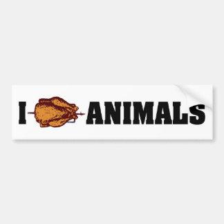 I Love Heart Animals - BBQ Cookout Lovers Bumper Sticker