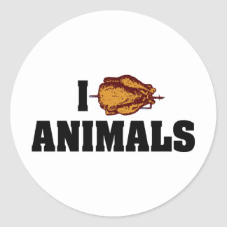 I Love Heart Animals - BBQ Cookout Lovers Classic Round Sticker