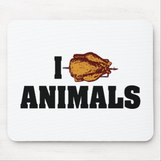 I Love Heart Animals - BBQ Cookout Lovers Mouse Pad