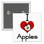 I love-heart apple 2 inch square button