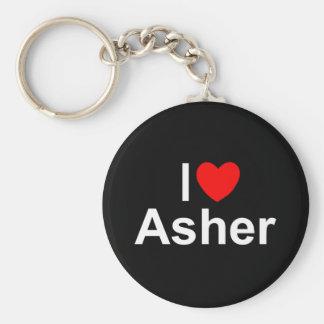 I Love (Heart) Asher Basic Round Button Keychain