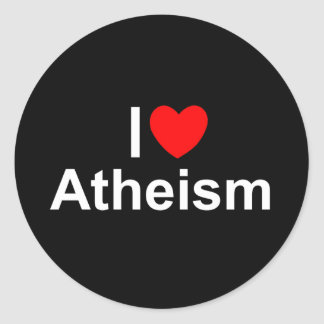 I Love (Heart) Atheism Classic Round Sticker