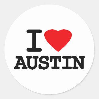 I Love Heart Austin Texas Classic Round Sticker
