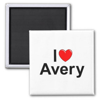 I Love (Heart) Avery 2 Inch Square Magnet