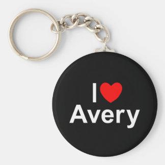 I Love (Heart) Avery Basic Round Button Keychain