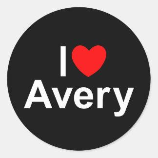I Love (Heart) Avery Classic Round Sticker