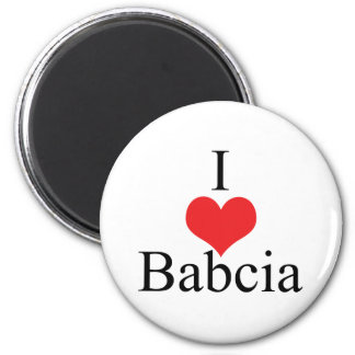 I Love (Heart) Babcia 2 Inch Round Magnet