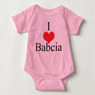 I Love (Heart) Babcia Baby Bodysuit