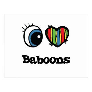 I Love (Heart) Baboons Postcard