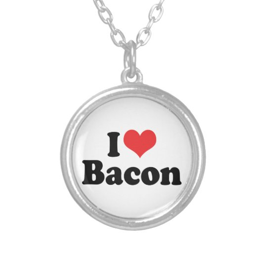 I Love Heart Bacon - Bacon Lover Silver Plated Necklace
