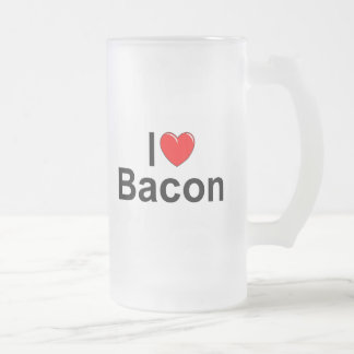 I Love (Heart) Bacon Frosted Glass Beer Mug