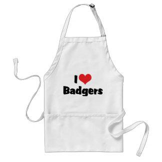 I Love Heart Badgers Adult Apron