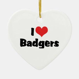 I Love Heart Badgers Ceramic Ornament