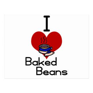 I love-heart baked beans postcard
